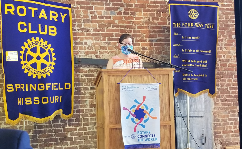 Outgoing Rotary President Dr. Jahnke addresses the club