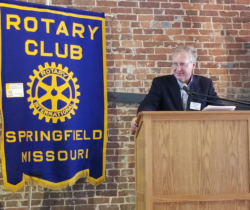 Rotay President Michael Overton Addresses the Club at July new member installation