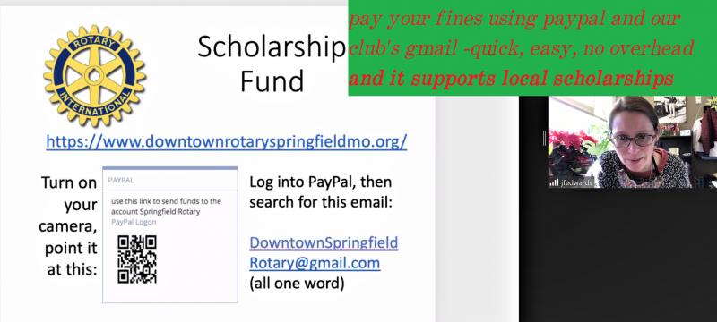PayPal- its easy, no overhead to the club, and helps our scholarships